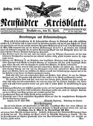 Neustädter Kreisblatt vom 25.04.1863