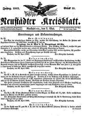 Neustädter Kreisblatt vom 02.05.1863