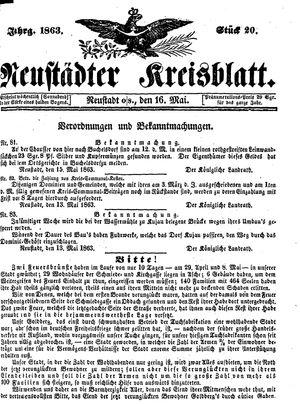 Neustädter Kreisblatt vom 16.05.1863