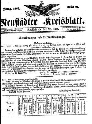 Neustädter Kreisblatt vom 23.05.1863