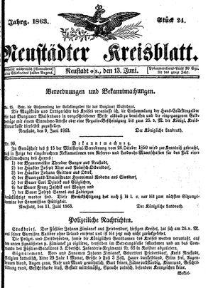 Neustädter Kreisblatt vom 13.06.1863