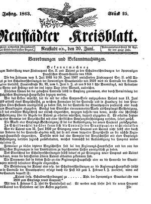 Neustädter Kreisblatt vom 20.06.1863