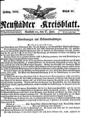 Neustädter Kreisblatt vom 27.06.1863