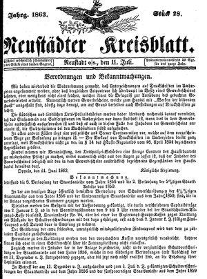 Neustädter Kreisblatt vom 11.07.1863