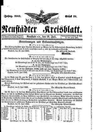 Neustädter Kreisblatt vom 18.07.1863