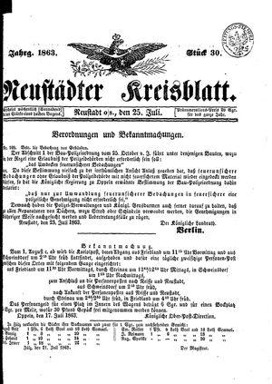 Neustädter Kreisblatt vom 25.07.1863