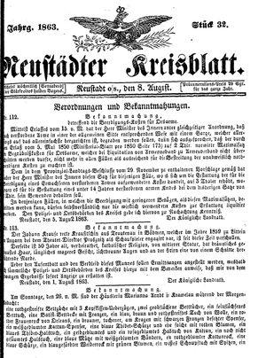 Neustädter Kreisblatt vom 08.08.1863