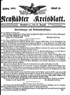Neustädter Kreisblatt vom 15.08.1863