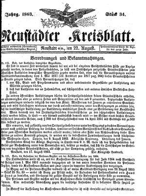 Neustädter Kreisblatt vom 22.08.1863