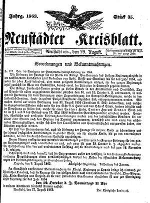Neustädter Kreisblatt vom 29.08.1863