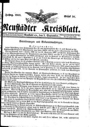 Neustädter Kreisblatt vom 05.09.1863