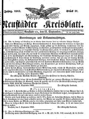 Neustädter Kreisblatt vom 12.09.1863
