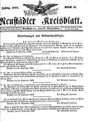 Neustädter Kreisblatt on Sep 19, 1863