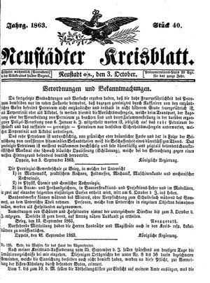 Neustädter Kreisblatt vom 03.10.1863