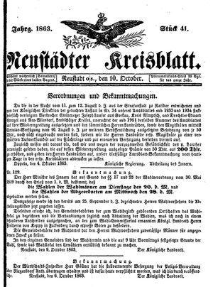 Neustädter Kreisblatt vom 10.10.1863