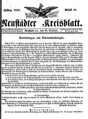 Neustädter Kreisblatt vom 18.10.1863