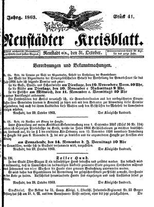 Neustädter Kreisblatt vom 31.10.1863