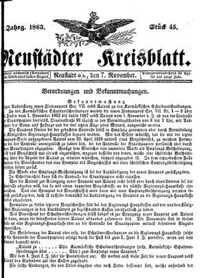 Neustädter Kreisblatt vom 07.11.1863