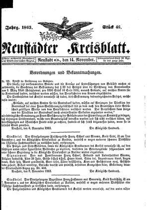 Neustädter Kreisblatt vom 14.11.1863