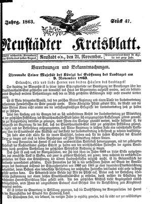 Neustädter Kreisblatt vom 21.11.1863