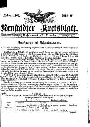 Neustädter Kreisblatt vom 28.11.1863