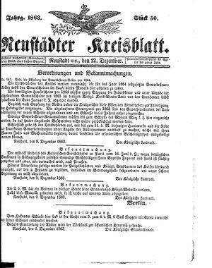 Neustädter Kreisblatt vom 12.12.1863