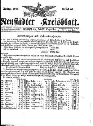 Neustädter Kreisblatt on Dec 19, 1863
