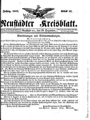 Neustädter Kreisblatt vom 29.12.1863