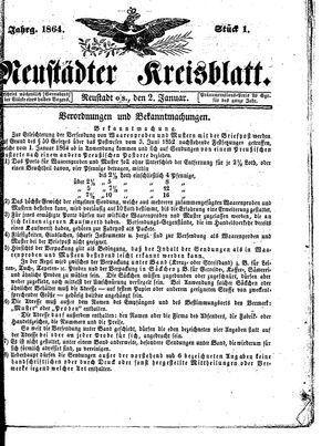 Neustädter Kreisblatt vom 02.01.1864