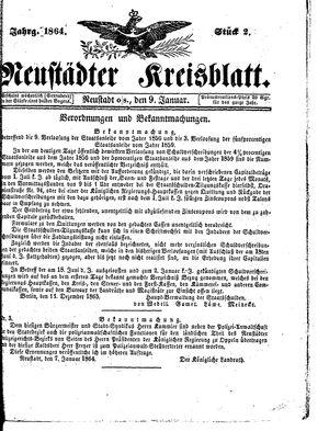 Neustädter Kreisblatt vom 09.01.1864