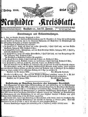 Neustädter Kreisblatt on Jan 23, 1864