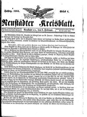 Neustädter Kreisblatt vom 06.02.1864