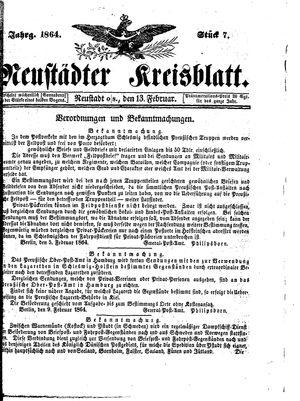 Neustädter Kreisblatt vom 13.02.1864