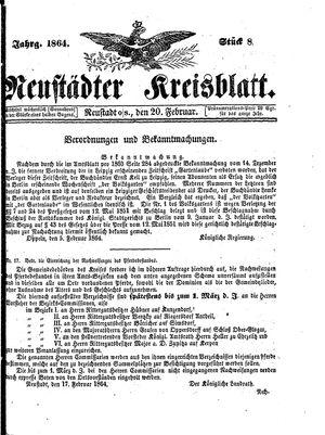 Neustädter Kreisblatt vom 20.02.1864