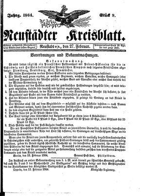 Neustädter Kreisblatt vom 27.02.1864