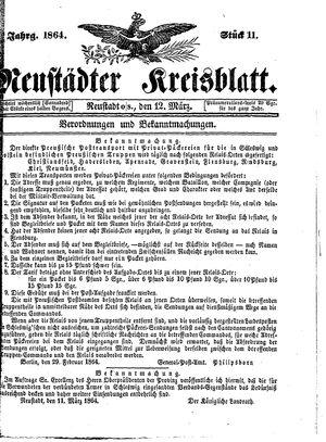 Neustädter Kreisblatt vom 12.03.1864