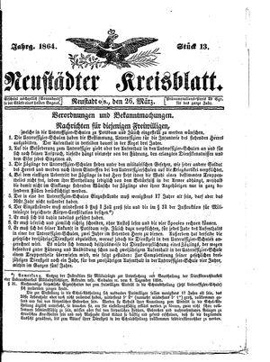 Neustädter Kreisblatt vom 26.03.1864