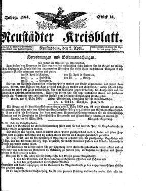 Neustädter Kreisblatt vom 02.04.1864