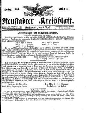Neustädter Kreisblatt vom 09.04.1864