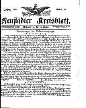 Neustädter Kreisblatt on Apr 16, 1864