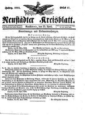 Neustädter Kreisblatt vom 23.04.1864
