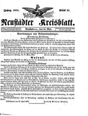 Neustädter Kreisblatt vom 14.05.1864