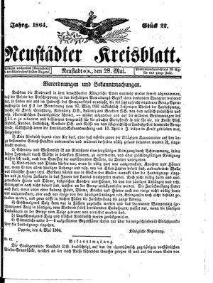 Neustädter Kreisblatt vom 28.05.1864