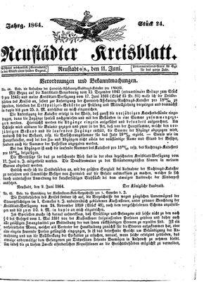 Neustädter Kreisblatt vom 11.06.1864