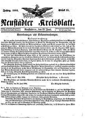 Neustädter Kreisblatt vom 18.06.1864