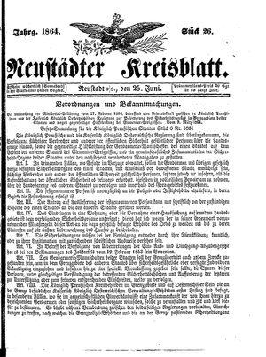 Neustädter Kreisblatt vom 25.06.1864