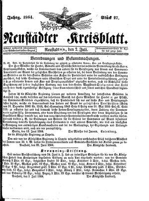 Neustädter Kreisblatt vom 02.07.1864