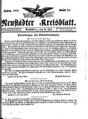 Neustädter Kreisblatt vom 16.07.1864
