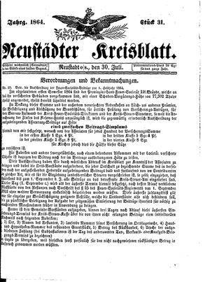 Neustädter Kreisblatt vom 30.07.1864
