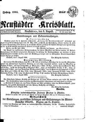 Neustädter Kreisblatt vom 06.08.1864